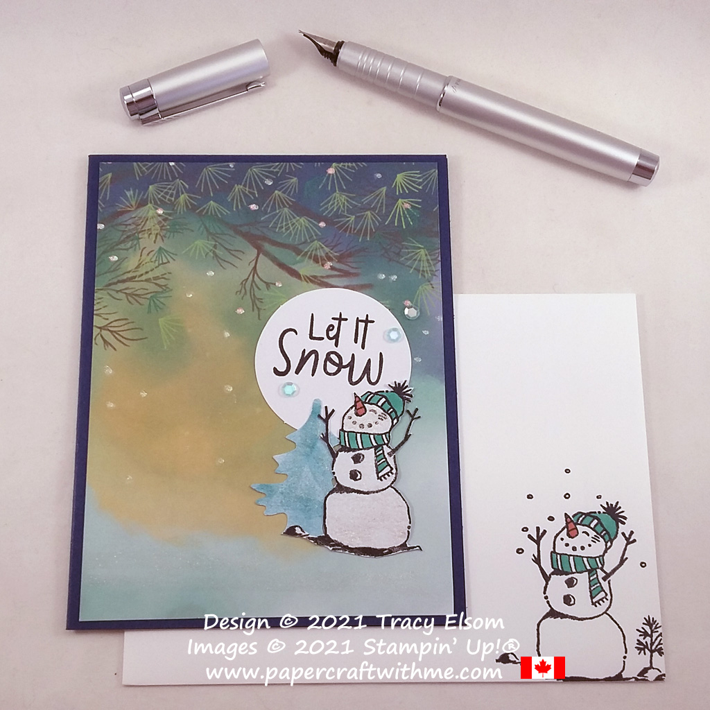 """Alternate Christmas card design for the July 2021 Paper Pumpkin kit """"The Adventure Awaits"""", created using the Snowman Season Stamp Set from Stampin' Up! #papercraftwithme"""