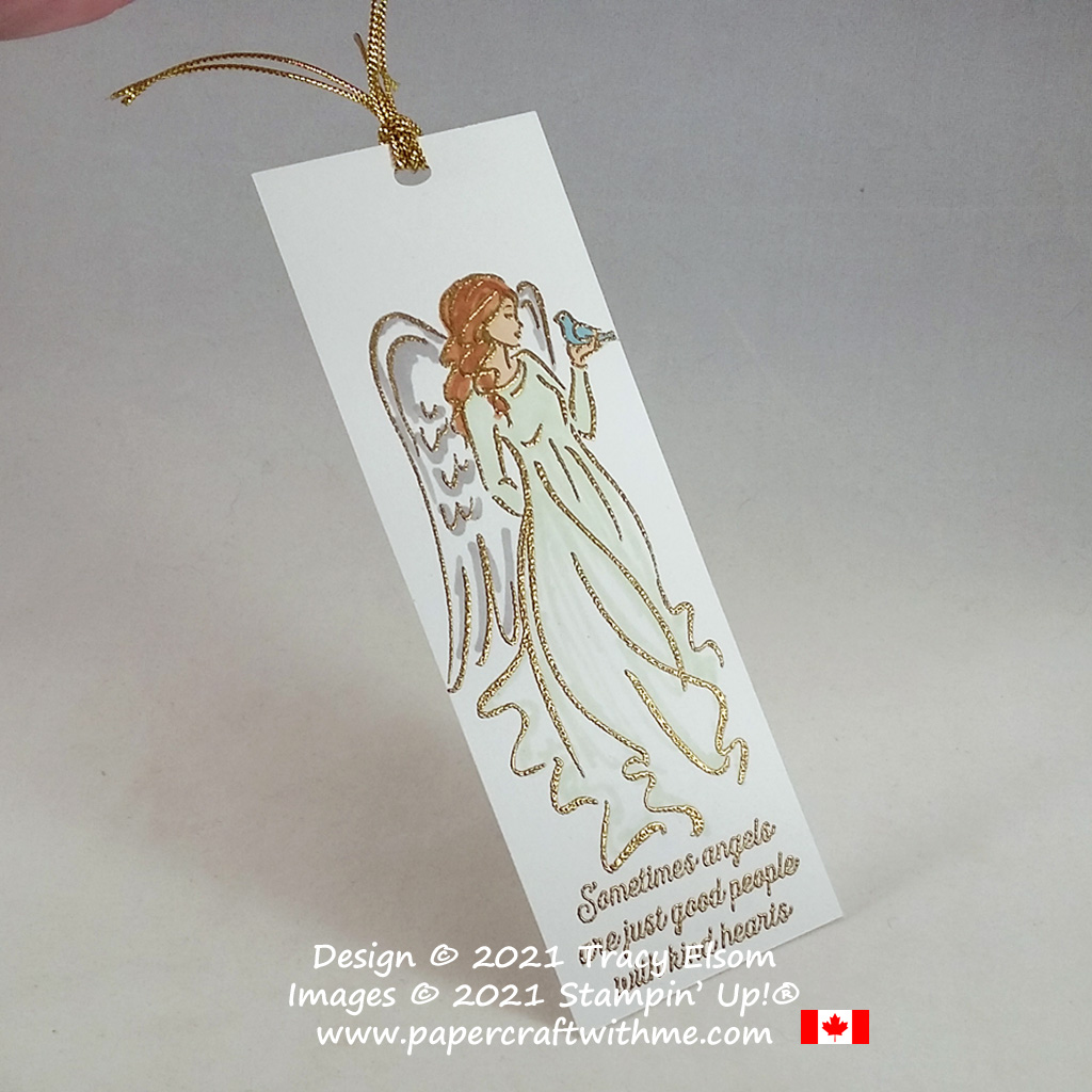 Beautiful angel bookmark created using the Angels of Peace Stamp Set from Stampin' Up! #papercraftwithme