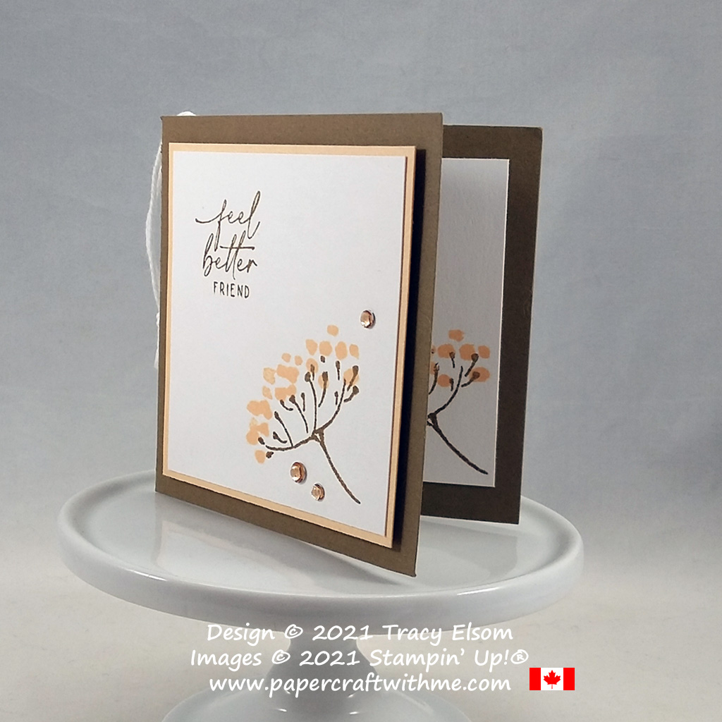 """""""Feel better friend"""" folded gift tag created using the Hand-Penned Petals Stamp Set from Stampin' Up! #papercraftwithme #simplestamping"""