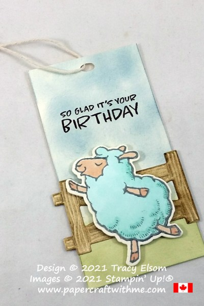 """""""So glad it's your birthday"""" gift tag created using the free Counting Sheep Stamp Set and coordinating Sheep Dies from Stampin' Up! #papercraftwithme"""