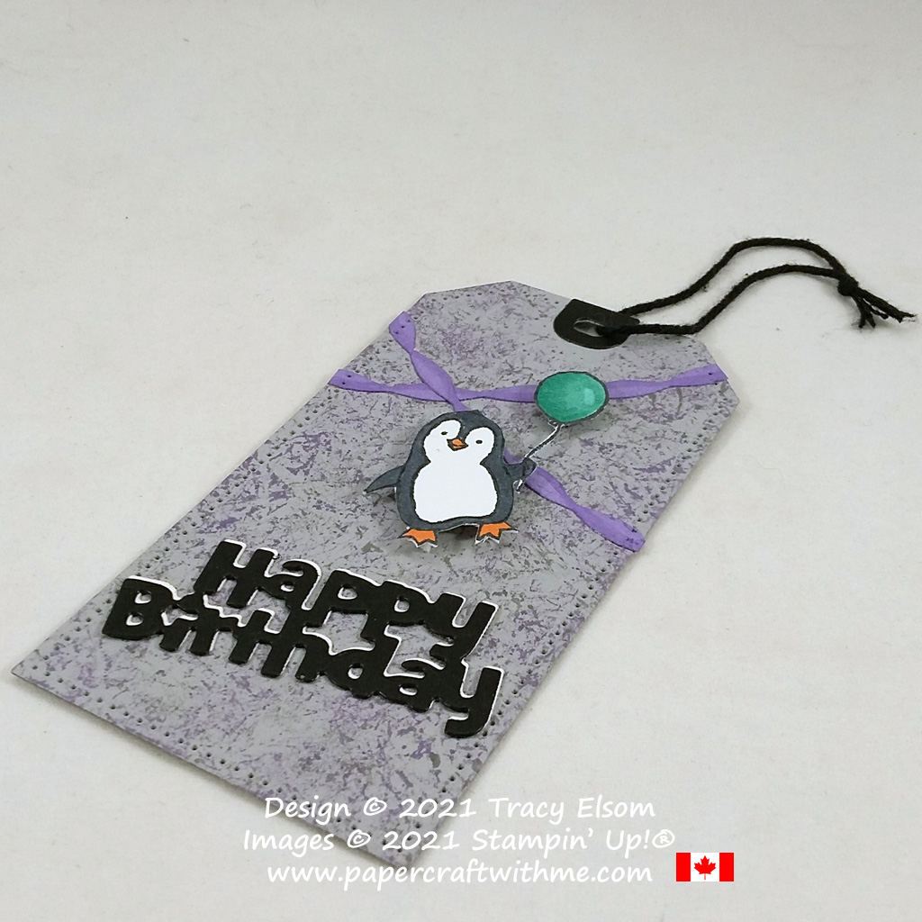 Sweet penguin birthday gift tag created using the Count On Me Stamp Set with Birthday Chick and Tailor Made Tags Dies from Stampin' Up! #papercraftwithme
