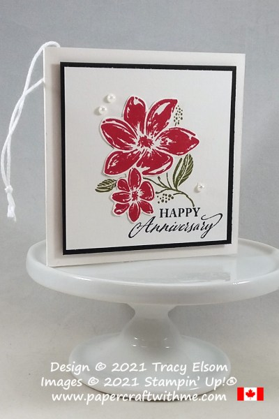 """""""Happy anniversary"""" gift tag created using the Elegantly Said Stamp Set from Stampin' Up! #papercraftwithme"""