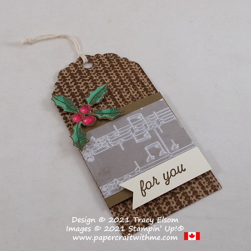 Gift tag created using the Knit Together and Happy Holly-Days Stamp Sets and Merry Melody 3D Embossing Folder, all from Stampin' Up! #papercraftwithme