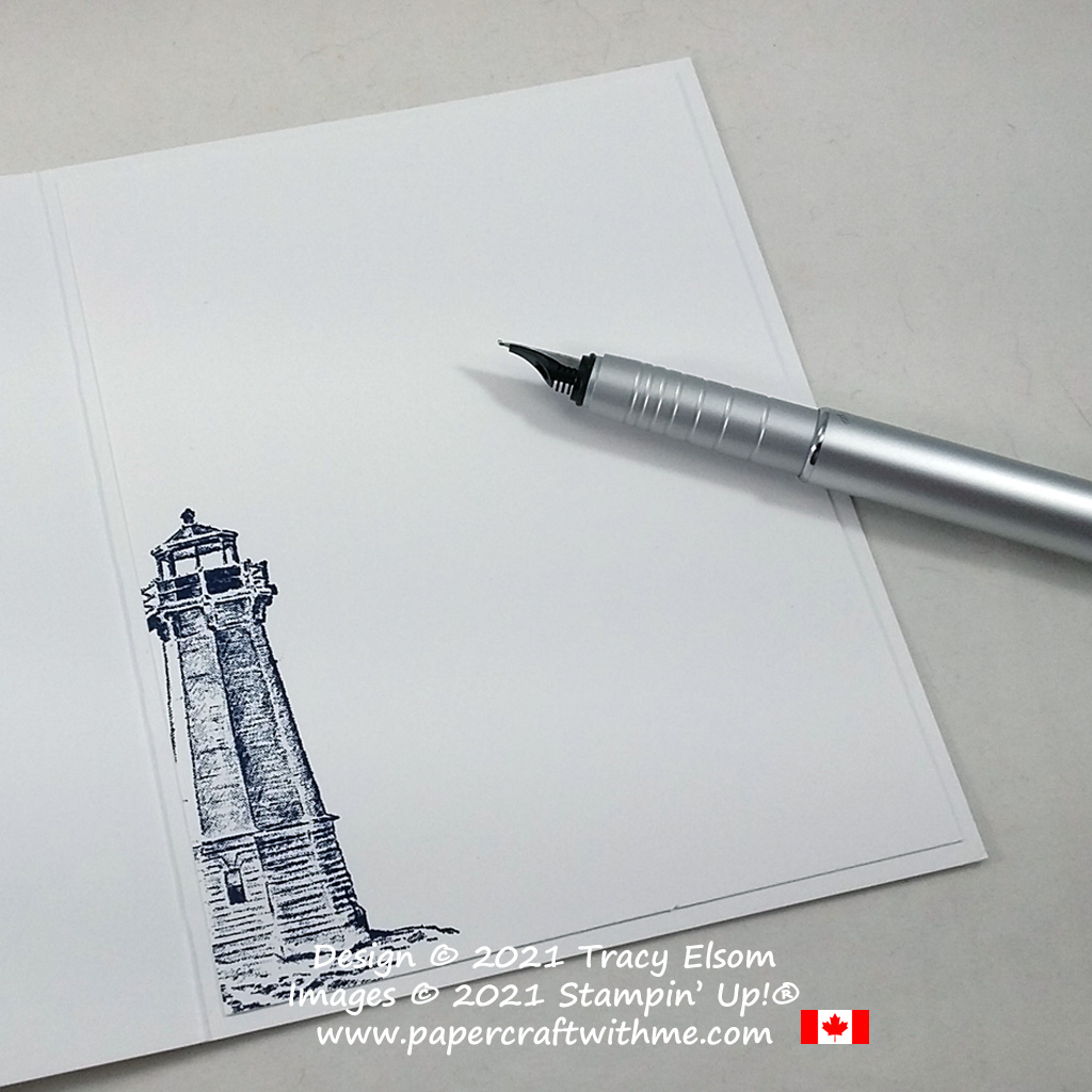 Inside of card decorated with a lighthouse image from the Sailing Home Stamp Set by Stampin' Up! #papercraftwithme