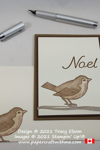 """Simple Christmas card in neutral colours with """"Noel"""" sentiment and bird created using the Happy Holly-Days Stamp Set from Stampin' Up! #papercraftwithme"""