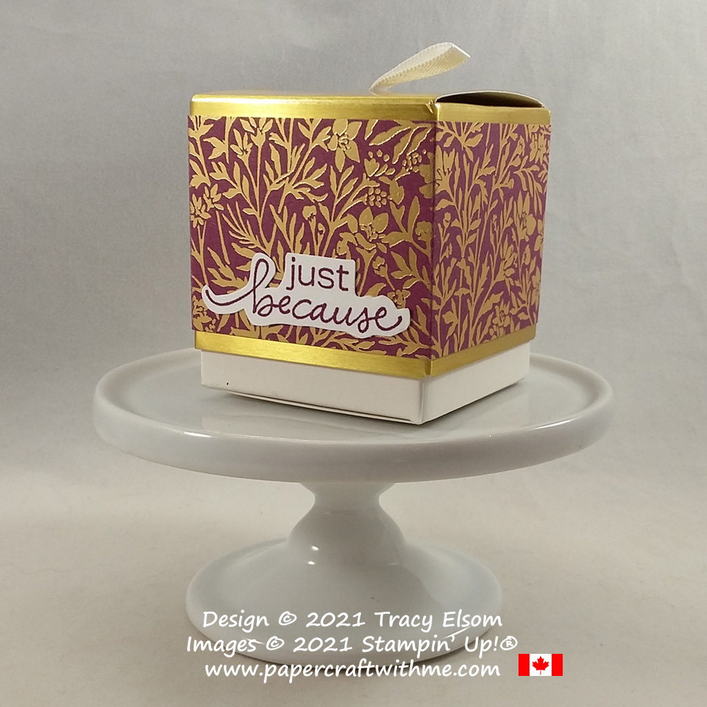 """Simply Classic Treat Box wrapped with Blackberry Beauty paper and """"just because"""" sentiment from the Lovely You Stamp Set from Stampin' Up! #papercraftwithme #simplestamping"""