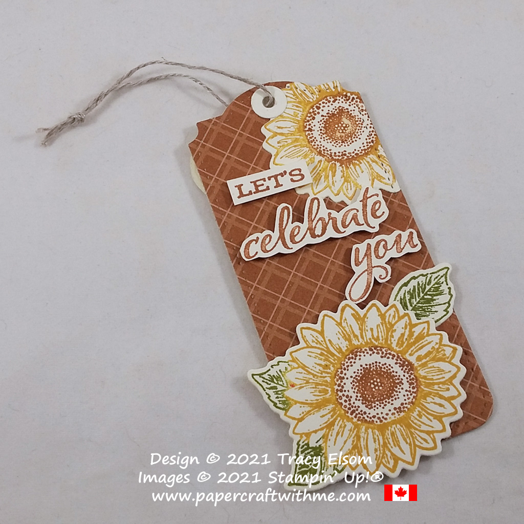 Gift tag created using the Celebrate Sunflowers Stamp Set with Sunflowers and Tailor Made Tags Dies from Stampin' Up! #papercraftwithme