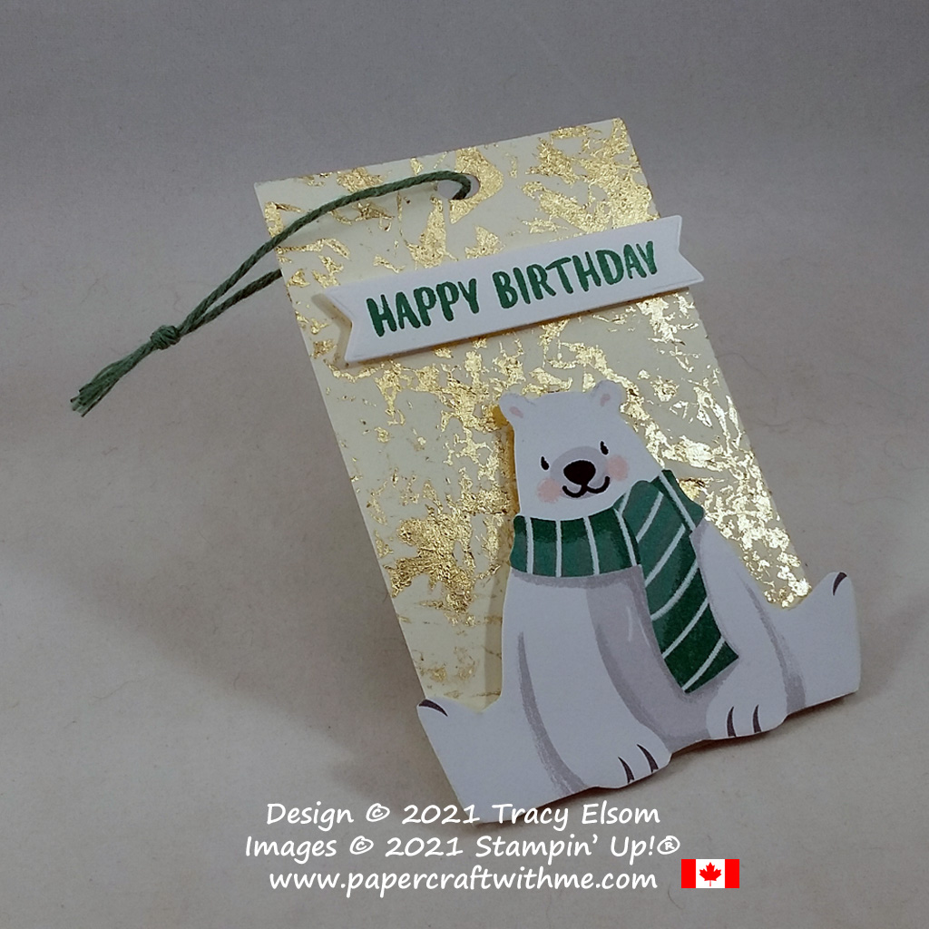 Polar bear birthday gift tag with gilded leafing created using the Nuts About Squirrels Stamp Set and FREE Penguin Playmates paper from Stampin' Up! #papercraftwithme