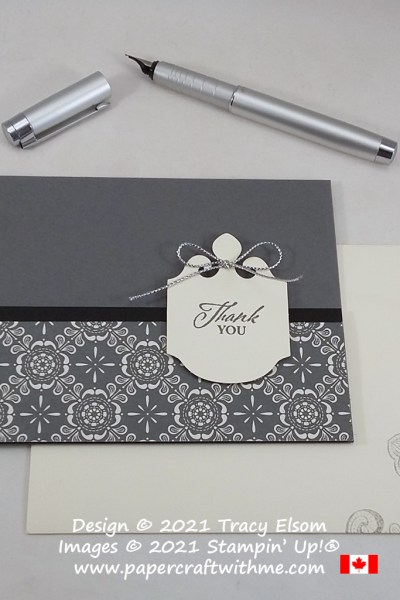 Simple thank you card created using the Elegantly Said Stamp Set and Elegant Punch from Stampin' up! #papercraftwithme