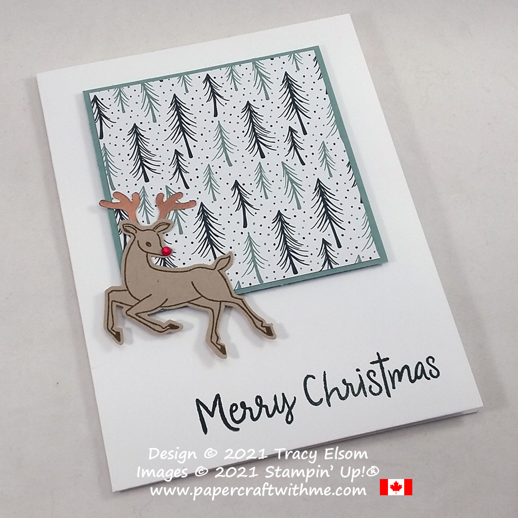 Simple Christmas card created using the Peaceful Deer Stamp Set and coordinating Deer Builder Punch from Stampin' Up! #papercraftwithme