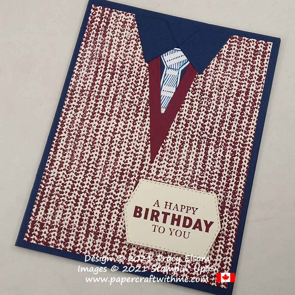 Masculine birthday card created using the Knit Together and Handsomely Suited Stamp Sets and Suit & Tie Dies from Stampin' Up! #papercraftwithme