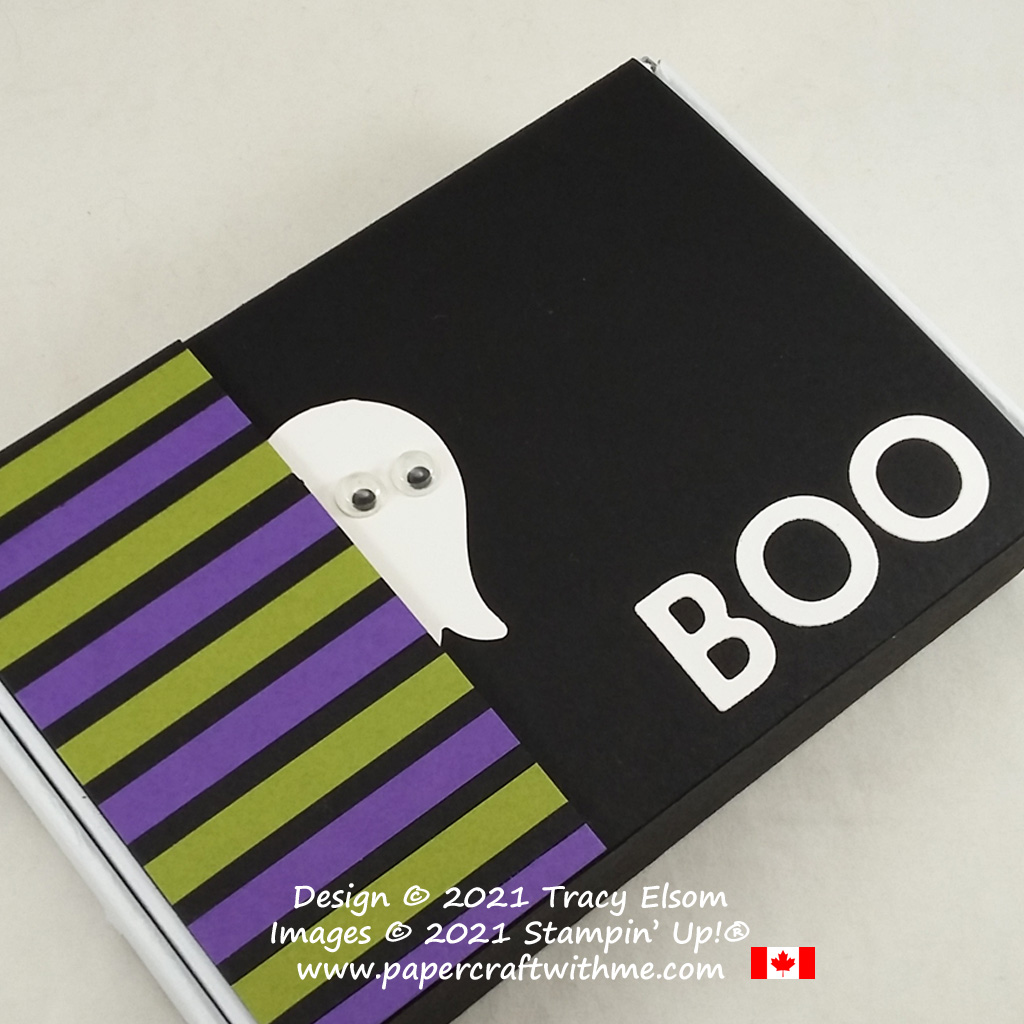 """""""Boo"""" Halloween gift box decorated using the Tulip Builder Punch and Playful Alphabet Dies from Stampin' Up! #papercraftwithme"""