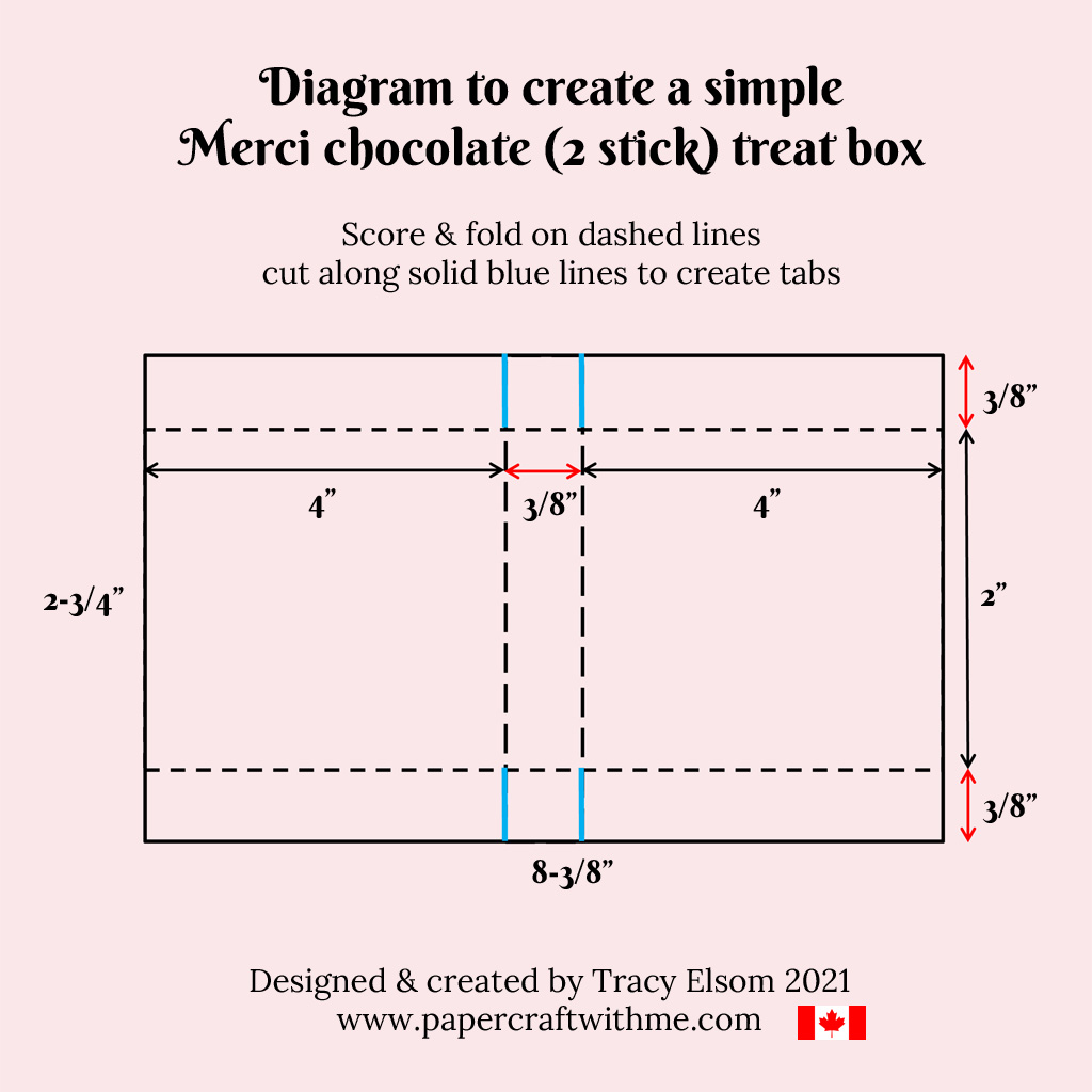 Cutting and scoring diagram to create a treat box for 2 sticks of Merci chocolate using a Tag Topper Punch from Stampin' Up! #papercraftwithme
