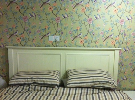 How cute is the wallpaper in our bedroom?