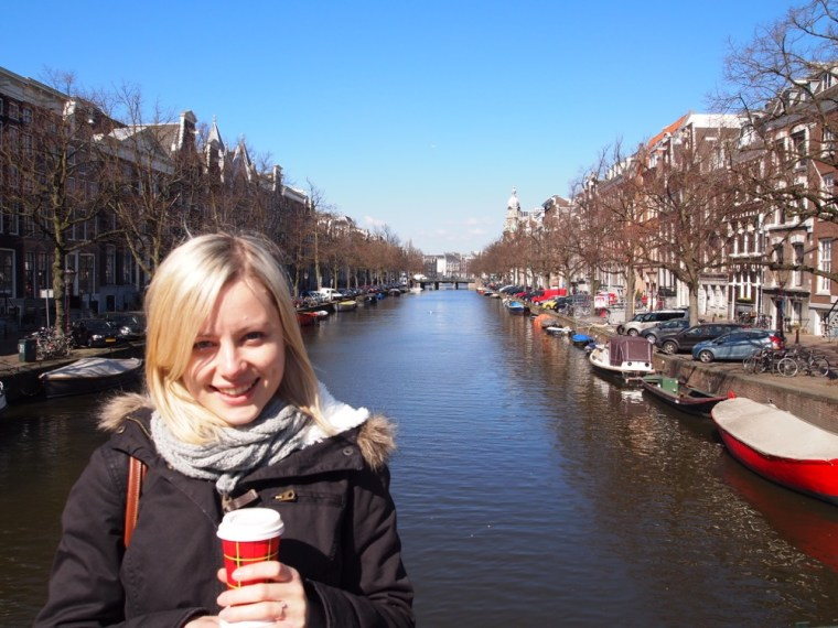 coffee and Canals of Amsterdam cold day
