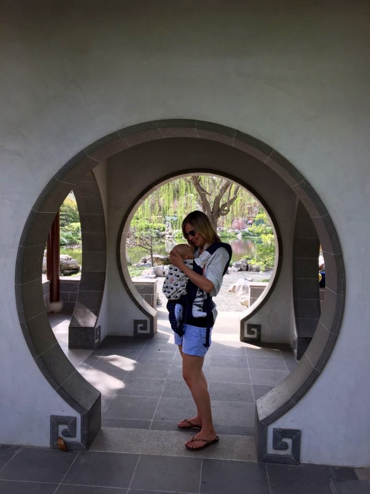 Chinese Garden Baby wearing Huntingdon Library Los Angeles