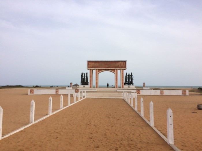Point of no return in Ouidah, Benin, west Africa backpacking