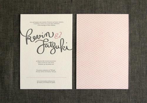 Hand Lettered Letterpress Wedding Invites