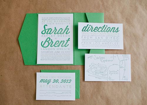 Foil Stamped Typography Wedding Invitation