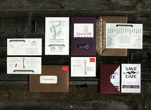Key Themed Wedding Invitations: Sarah + Josh's DIY Letterpress Wedding Invitations