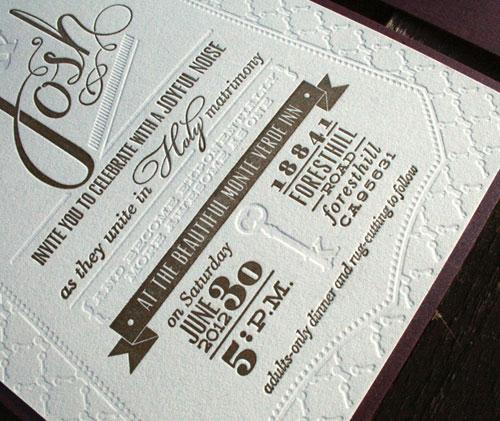 Sarah Josh S Diy Letterpress Wedding Invitations Paper Crave