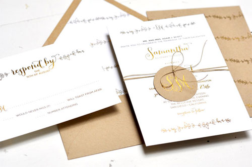 Gold Foil Stamped Wedding Invitations: Sparrow Gold Foil Stamped Wedding Invitations
