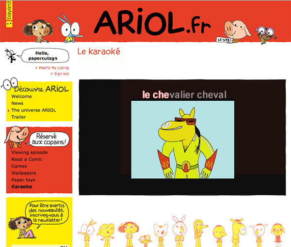 Screenshot of French ARIOL website
