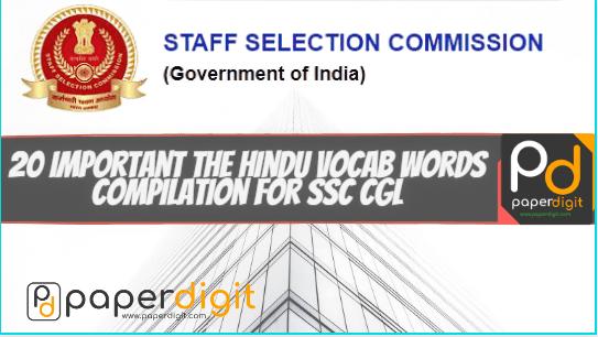 20 Important The Hindu Vocab Words Compilation For SSC CGL, paperdigit.com