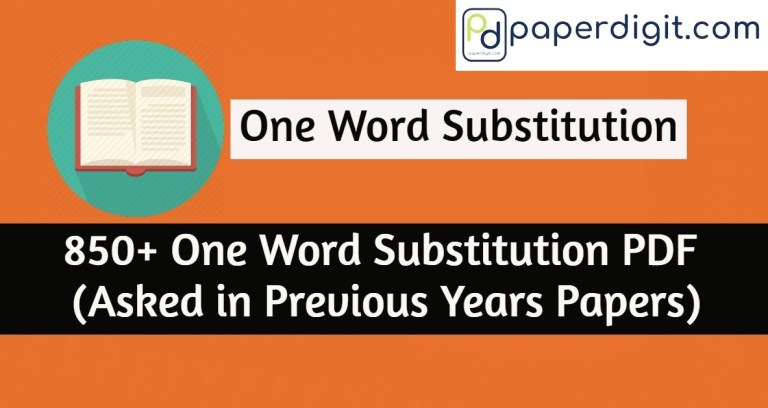 One Word Substitution pdf Useful for SSC, IBPS, RRB Exams.