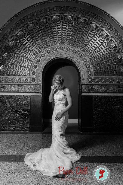 Dramatic black & white full length bridal portrait at Union Station St. Louis with model Jane Dillon