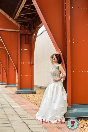 Vibrant architectural bridal portrait at Union Station St. Louis with model Nicole Fulmer
