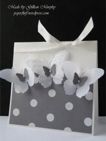 butterfly dotty card black background