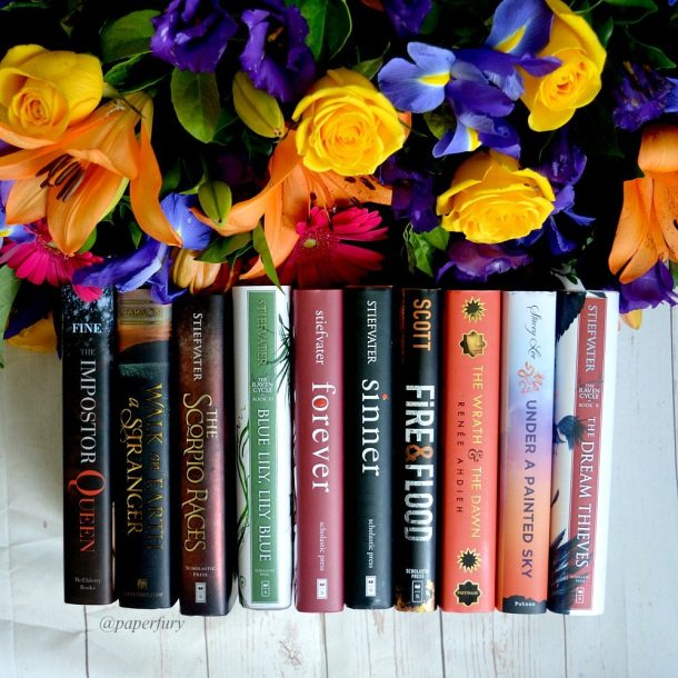 line of books + flowers