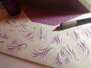 purple calligraphy