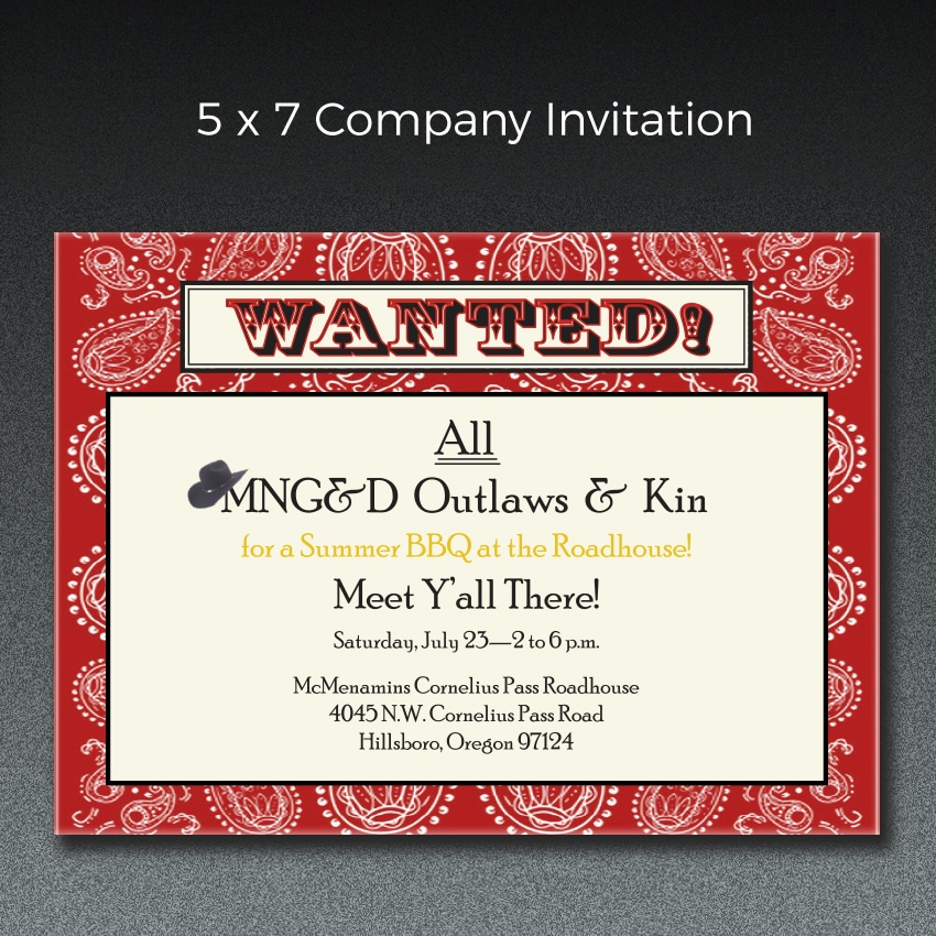 This is an invitation we printed for a company barbeque.