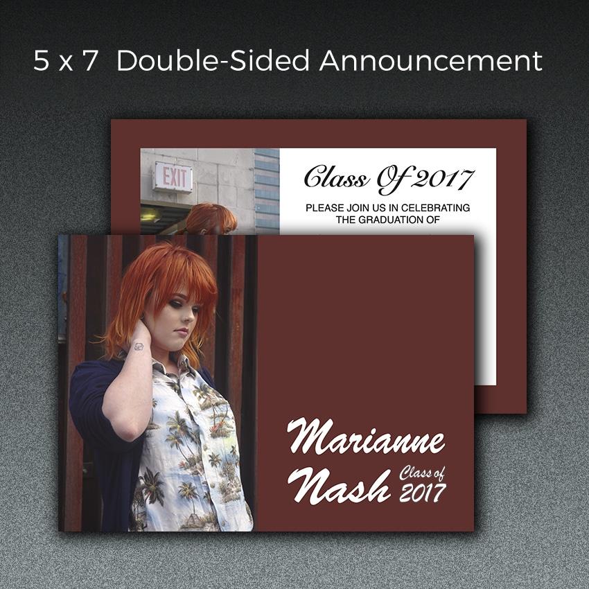 5 x 7 double sided graduation announcement paperjam pdx