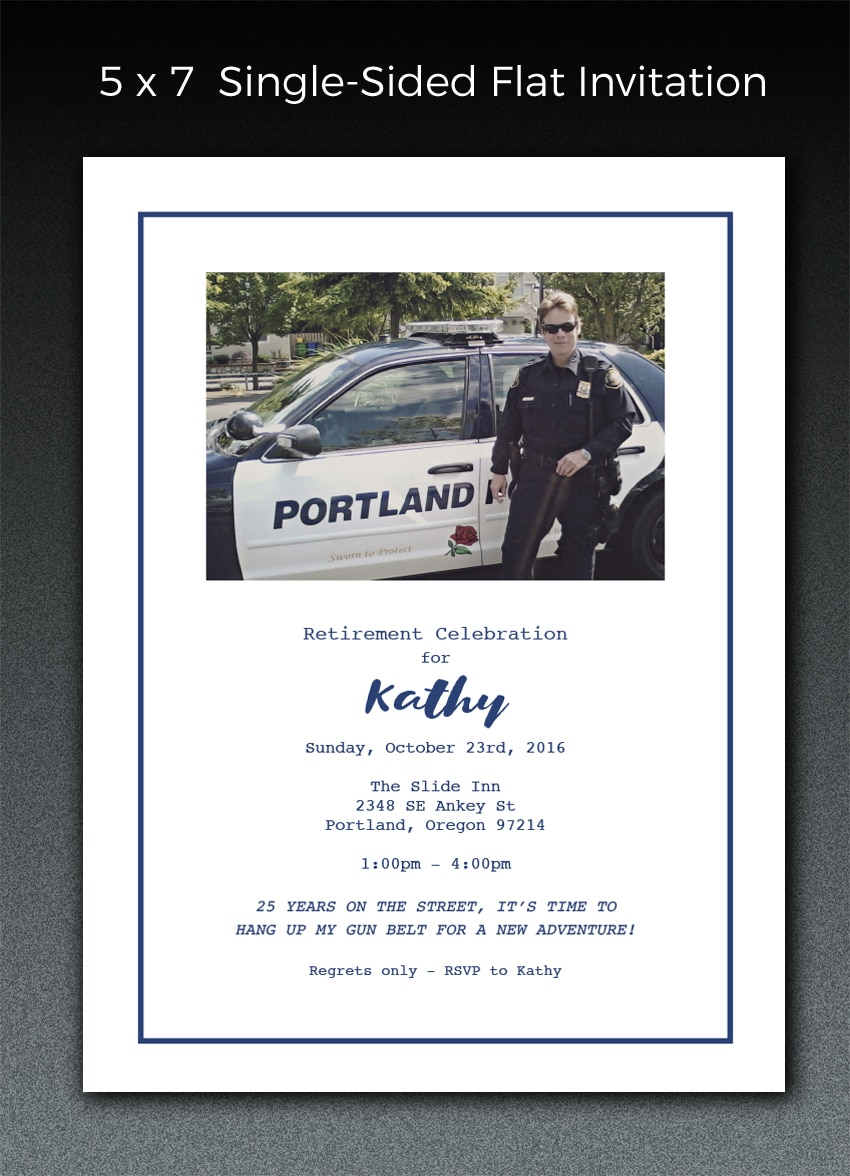 This is a sample of a retirement celebration invitation that was layed out and type set at Paperjam