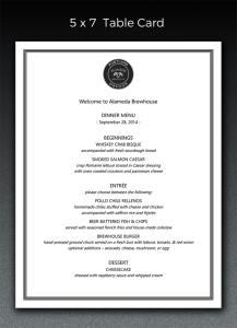 table card menu