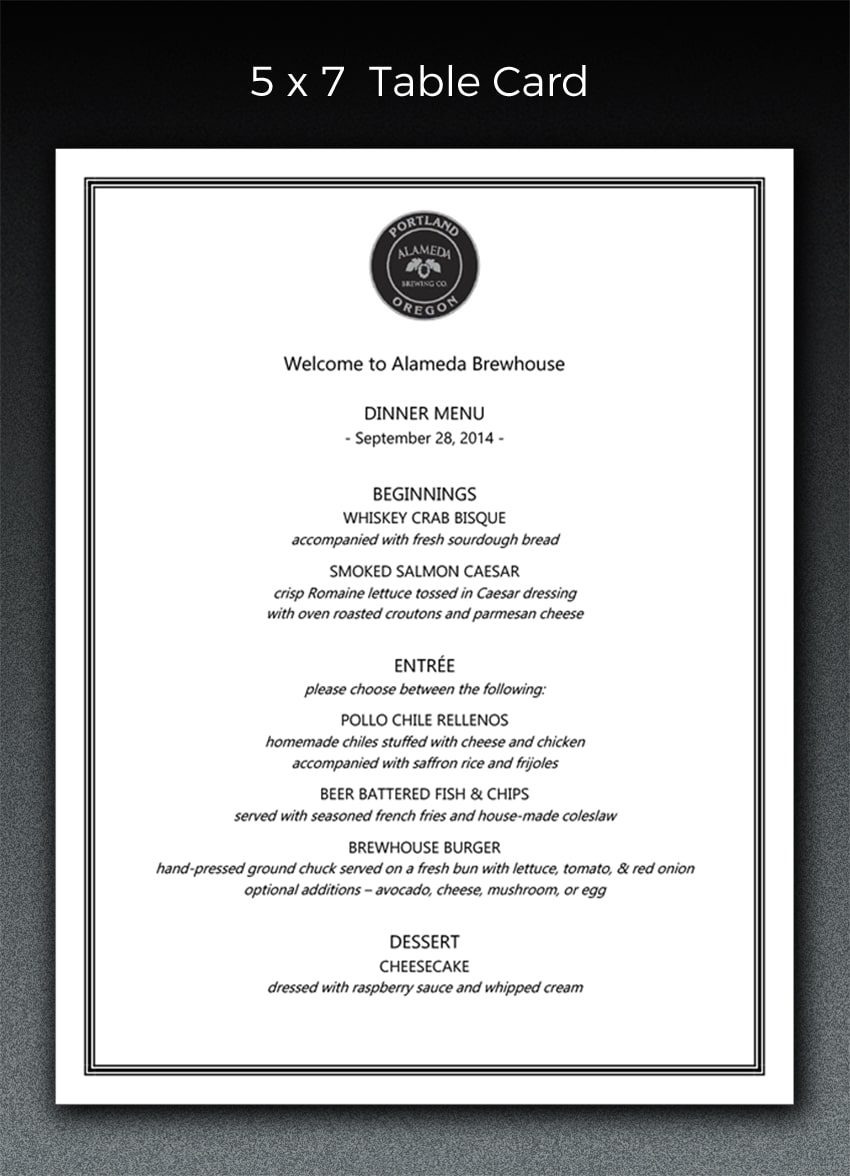 table card menu