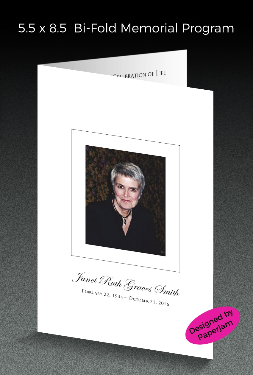 Printed on a crisp white mat card stock, this memorial program with photo is professionally type set by our designer at Paperjam.