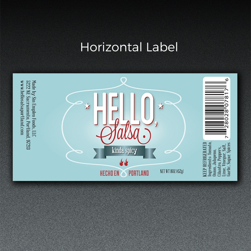 custom print horizontal label