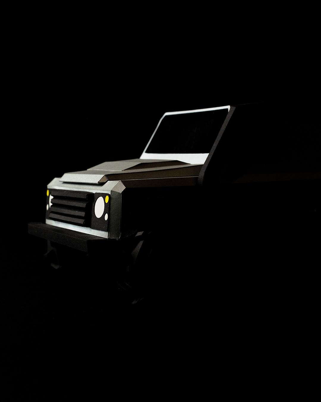 Geländewagen verteidigerer Papercraft car6