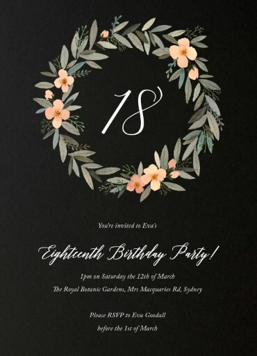 Watercolour Wreath Birthday Invitations