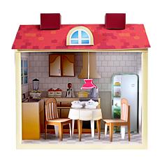 Maqueta 3D de una cocina de casa de muñecas.