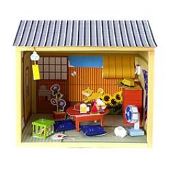 Maqueta 3D de casa de muñecas estilo japonés verano y otoño.
