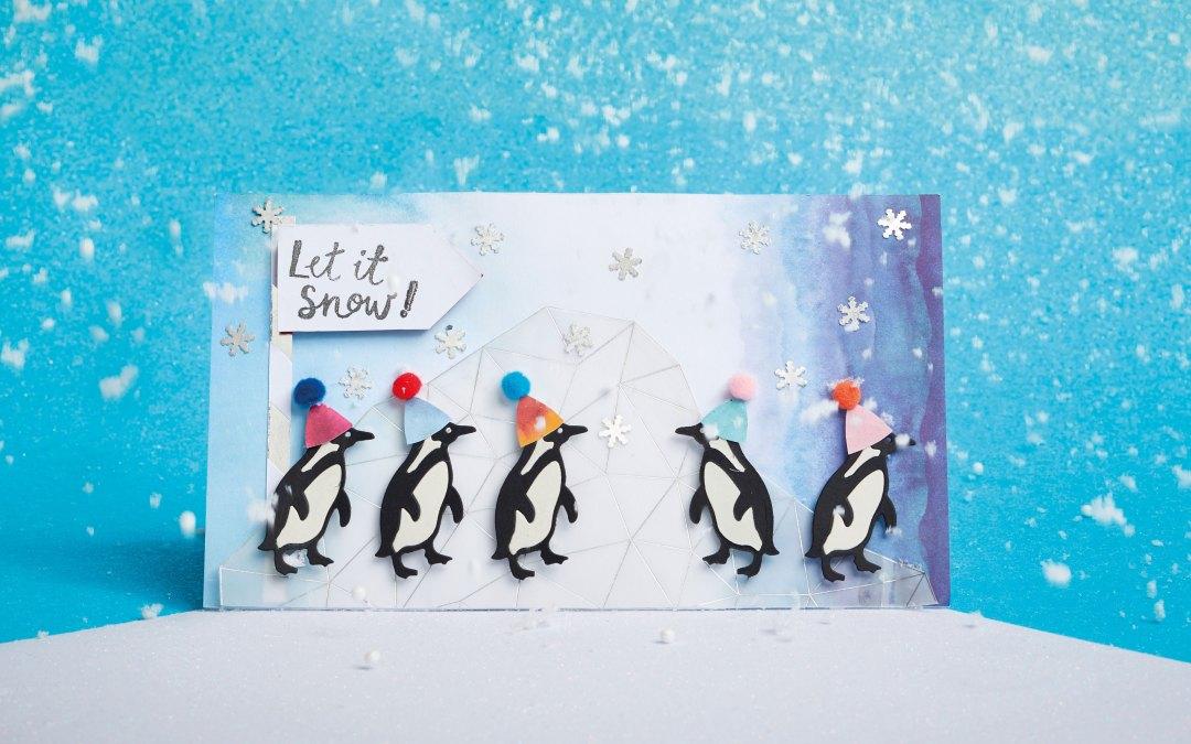 Tarjeta de pingüino para Navidad