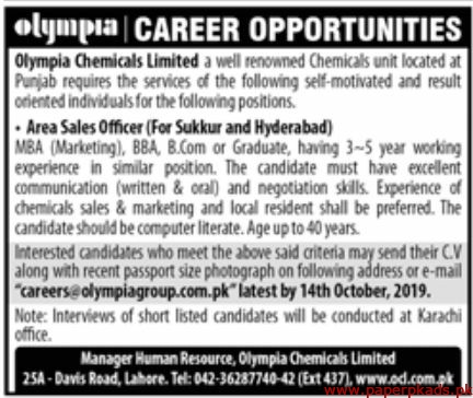 Olympia Chemicals Limited Jobs 2019 Latest