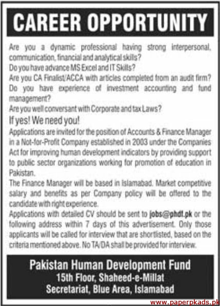 Pakistan Human Development Fund Latest Jobs 2019