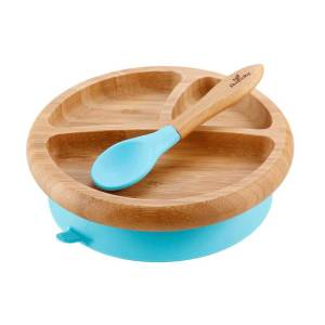 Avanchy Bamboo Suction Baby Plate with Spoon Blue