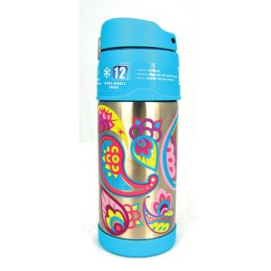Thermos Funtainer Stainless Steel Hydration Water Bottle Paisley Flower 355 ML